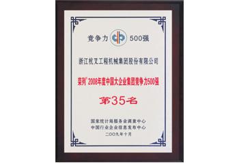 杭州叉车荣誉-荣列2008年度中国大企业集团竞争力500强
