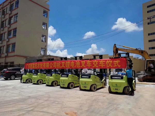 广东新富民农牧有限公司采购杭州叉车案例
