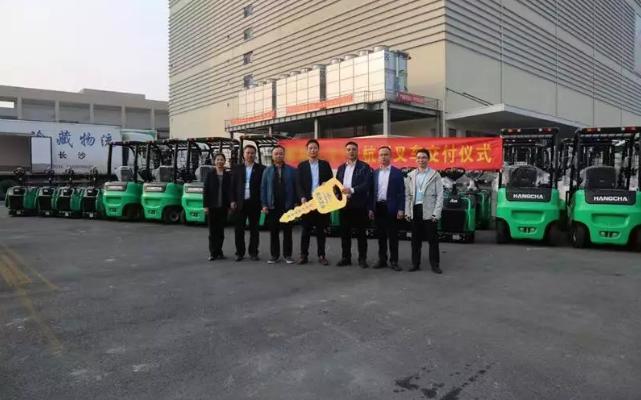 【强势】杭叉集团交付湖南某大型冷库58台锂电池叉车!